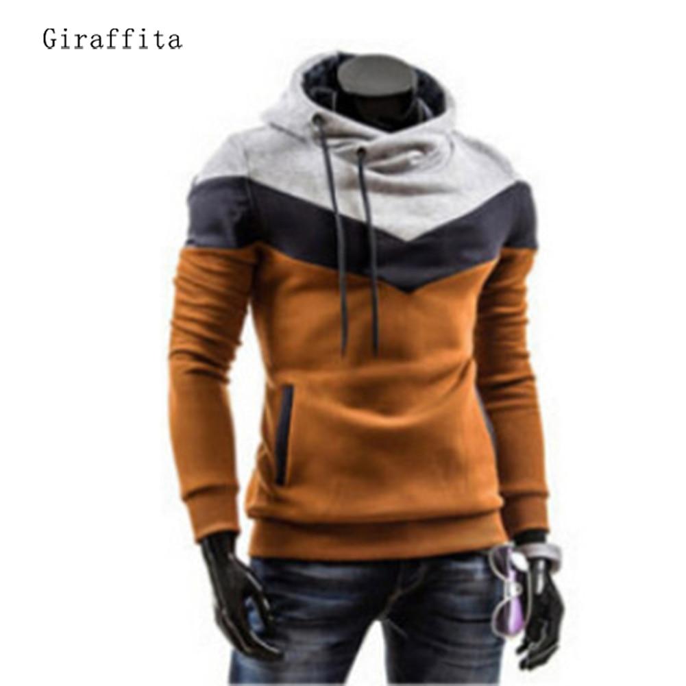 Giraffita Spring Leisure font b Mens b font Hooded font b Sweatering b font Stitching font