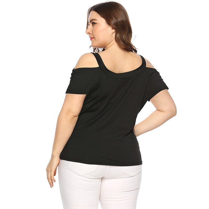 Plus Size Casual shirt Sexy Off Shoulder Tops Short Sleeve Lace Up Solid O neck Lady Loose Tops Tees Women Summer T Shirt in Blouses amp Shirts from Women 39 s Clothing