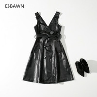 2018 Новое весеннее Платье женское черное офисное длинное сексуальное платье с высокой талией одежда Повседневная мода без рукавов корейски