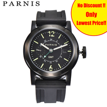 43mm Men Mechanical Watch Parnis Mens Automatic Watches GMT Sea-gull 2557 Black Rubber Strap 100M Waterproof Luminous