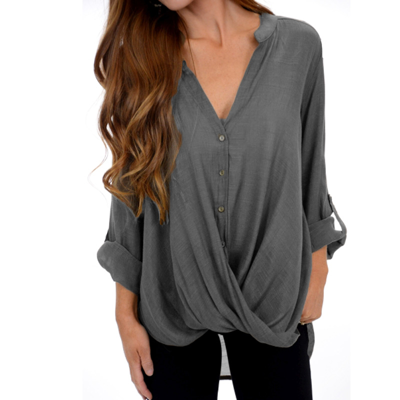 Deep V Long Sleeve Loose Irregular Blouse 2018 Women Casual Sexy 2018 Spring Elegant Baggy Front Crossed Pleated Work OL Shirt
