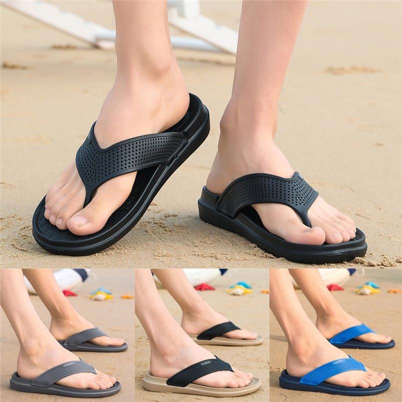 Г., новые мужские шлепанцы Летняя модная повседневная обувь однотонные пляжные сандалии дышащие Вьетнамки, обувь B1