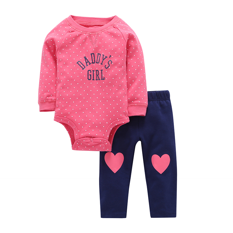 Kids Clothes 2Pcs/Set Bodysuits+Pants Spring Autumn Baby Girl Clothes Cotton Long Sleeves Bodysuits Newborn Baby Boy Clothes V20