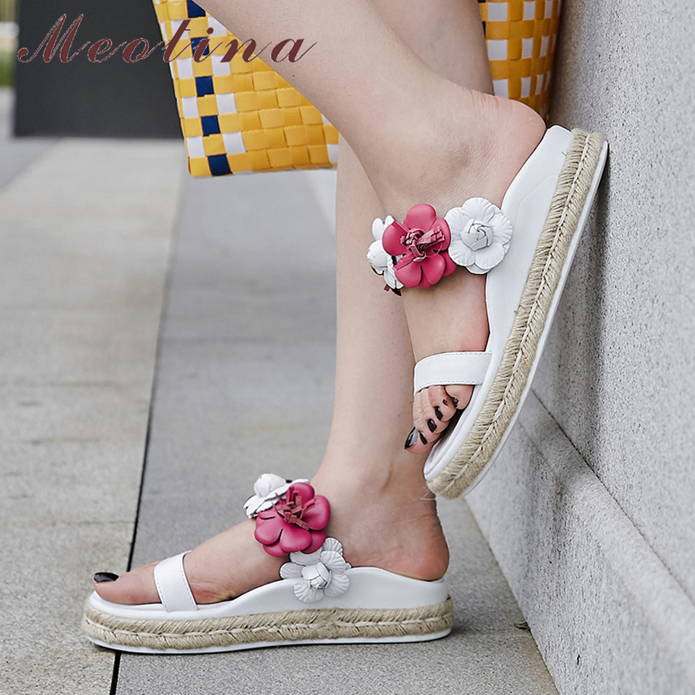 Meotina Summer Shoes Women Slippers Natural Genuine Leather Flat Platform Shoes Sweet Flower Open Toe Slides