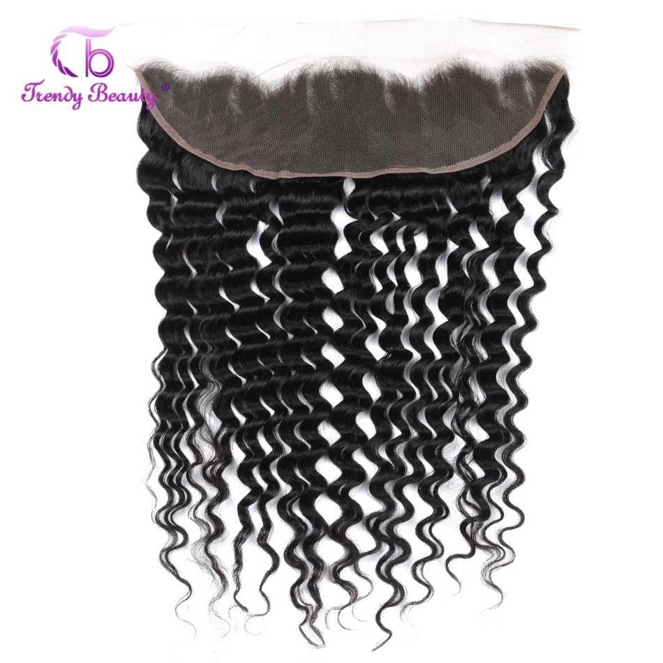 Trendy Beauty Braziliaanse Deep Weave Bundels Met Frontale Pre Geplukt Menselijk Haar 3 Bundels Met 13X4 Inch frontale Non-Remy 4 Stuks