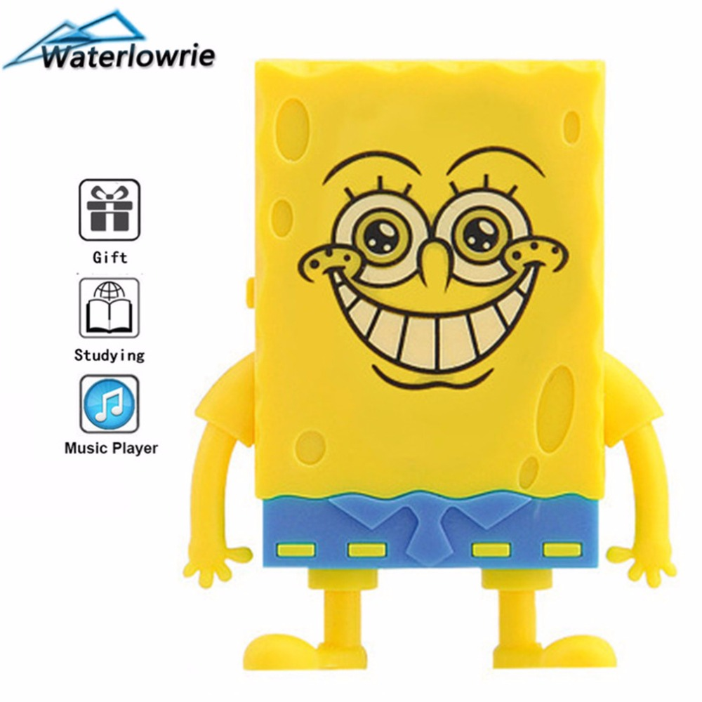 Waterlowrie Mini Music Player MP3 Spongebob MP 3 Mp3-player Not Radio Support 8G TF Card For Children Gift Release The Pressure