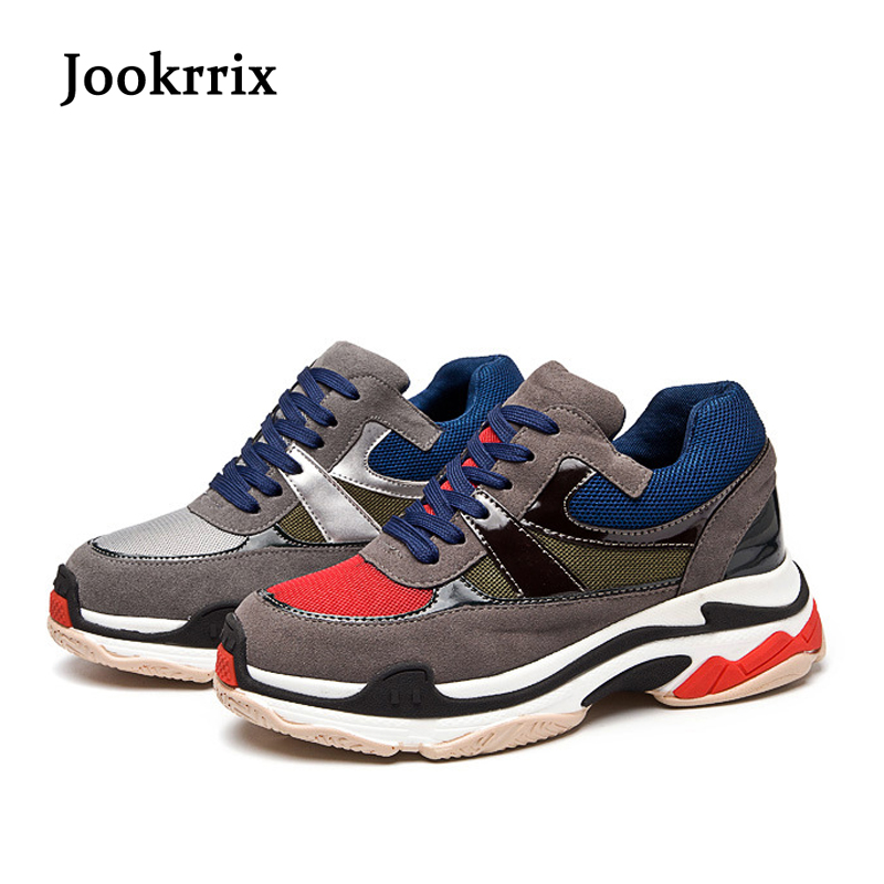 Jookrrix 2018 Spring New Fashion Brand Lady Shoes Soft Casual Shoes Women Shoe Girl Leisure Sneaker Breathable All Match Gray