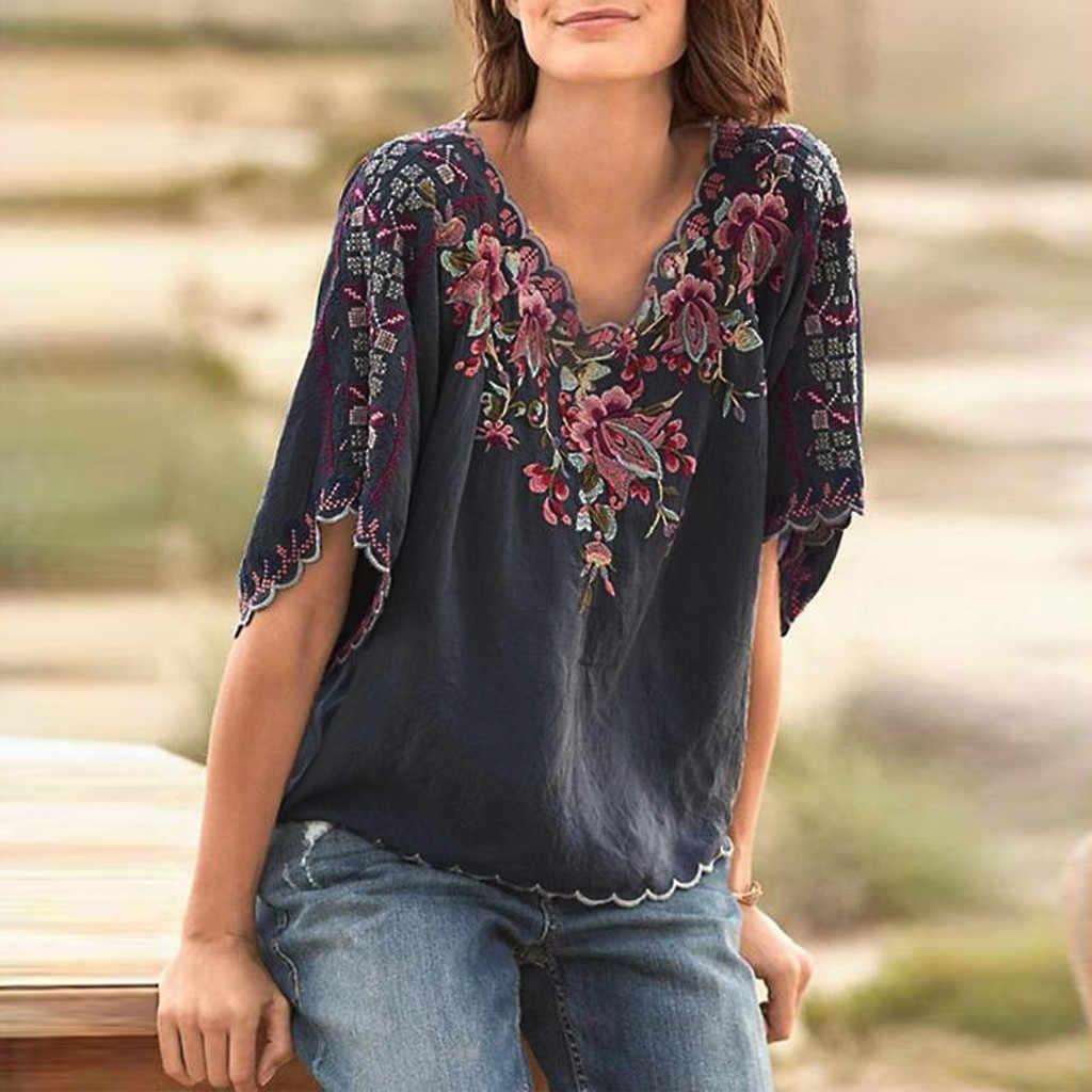 Женский топ, винтажная вышивка, летняя рубашка с принтом, v-образный вырез, короткий рукав, топ, блузка, женская блуза