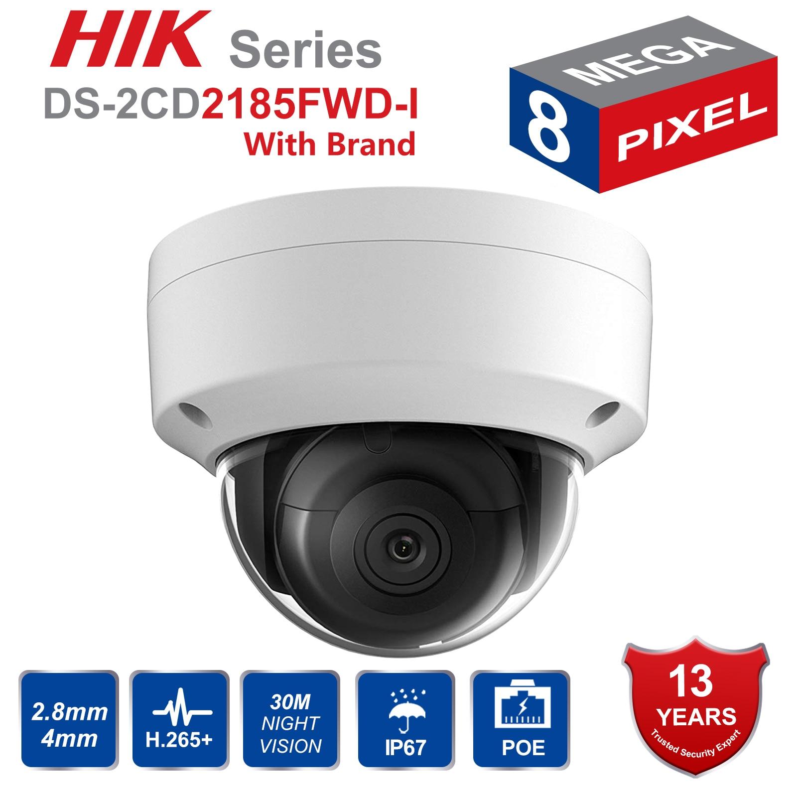 HIK Inglês versão 8MP POE Câmera IP DS-2CD2185FWD-I Rede Megapixel IR Cúpula De Câmera de Segurança Ao Ar Livre HD 8 H.265 + SD cartão Sot