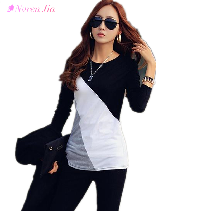 Nvren Jia 2017 Women T-shirt Clothes Ropa Tee Shirt Femme Poleras Camisetas Mujer Black/Brown Ladies Casual T Shirt Cotton Contrast Color