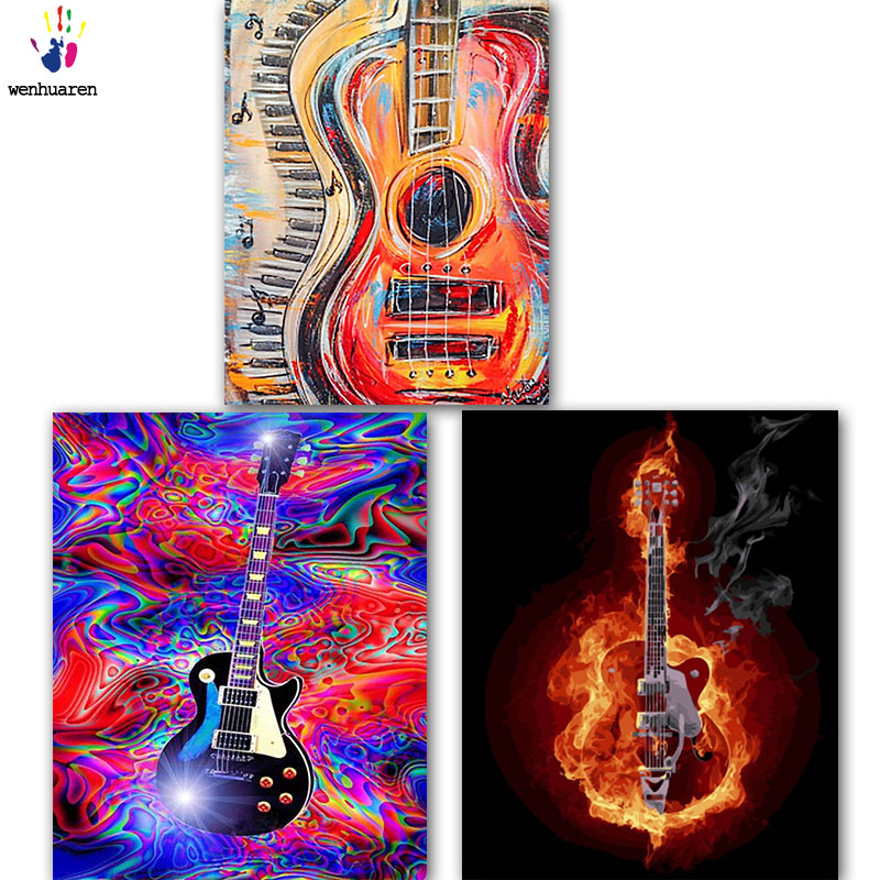 DIY colorings pictures by numbers with colors Different guitars picture drawing painting by numbers framed Home
