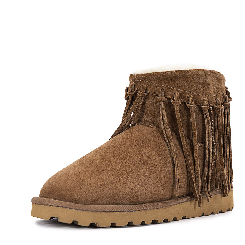 Fashion Women Boots 100% Real Fur Genuine Leather Snow Boots Classic Mujer Botas Winter Shoes for Women Warm Boots Top Quality 2016 new brand designer tassels snow boots for women good quality winter boots genuine leather boots platform botas mujer