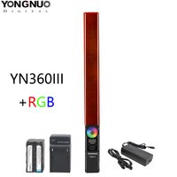 YONGNUO YN360 III Handheld LED Video Light Touch Adjusting Bi colo 3200k to 5500k RGB Color Temperature with Remote For youtube
