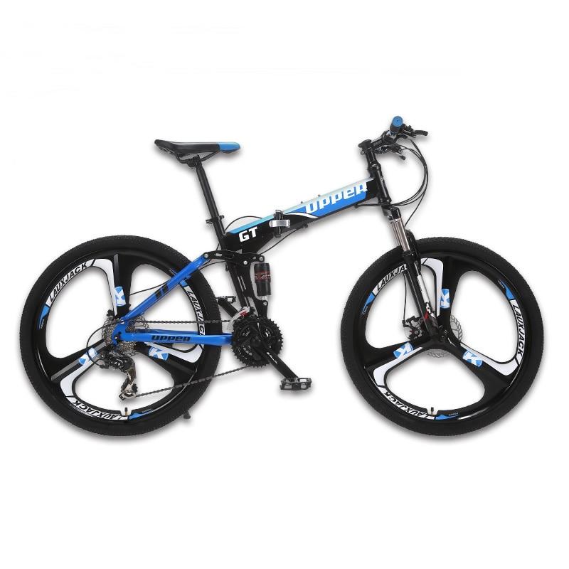 Estrutura de Aço Dobrável 24 GT-UPPER Mountain Bike de Suspensão Total de Velocidade Shimano Mecânico de Freio Da Roda De Liga Leve