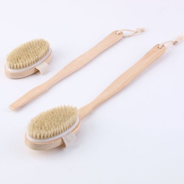 2 In 1 Removable long-handled wooden natural bristle brush bath brush massager Baby bath Shower bathroom accessories 1