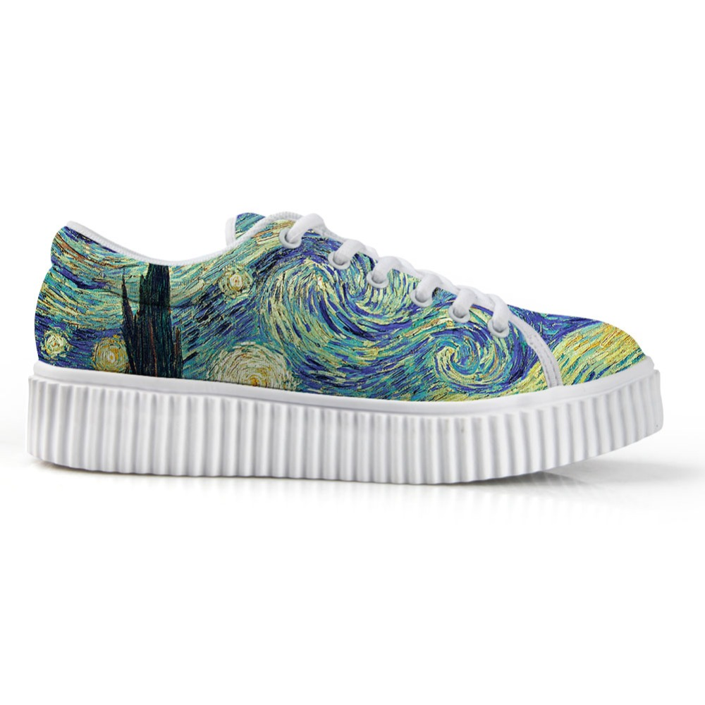 Women Flats Platform Shoes For Ladies Lace-up Stylish Low Top Height Increasing Shoes Painting Printing Vincent Van Gogh