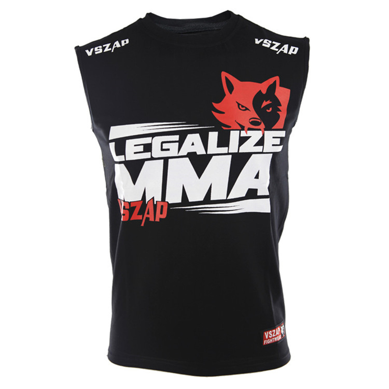 Men VSZAP LEGALIZE MMA Jerseys Boxing Tops Kick Boxing Vest Muay Thai Tees Boxing Jerseys