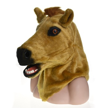 HuiTai patent costume PS Full Head handmade Halloween brown horse Horrible moving mouth mask