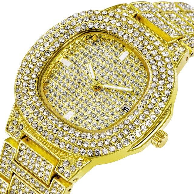 Fashion Rose Gold Women Men Watches Top Luxury Gold Couple's Quartz Watch Auto Date Calendar Wristwatch Rhinestone Clock Silver