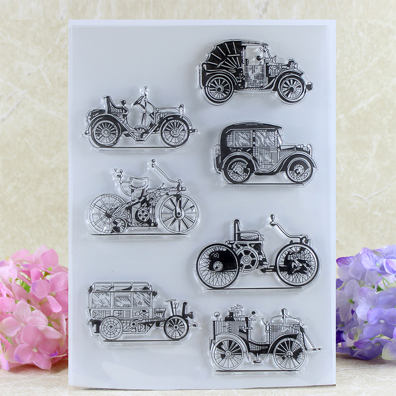 YLCS170 Vintage Car Silicone Clear Stamps For Scrapbook DIY Album Paper Cards Decoration Embossing Folder Rubber Stamp 15x21cm