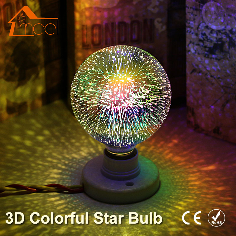 Party 3D Star LED Edison Bulb 220V Silver Plated Glass Colourful E27 LED Lamp Holiday Christmas Decoration Retro Filament Light mipow btl300 creative led light bluetooth aromatherapy flameless candle voice control lamp holiday party decoration gift