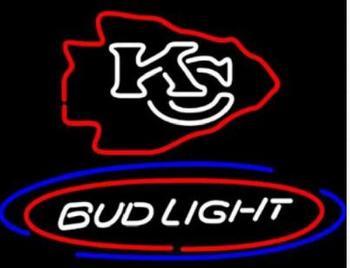 Custom Bud Light KC Glass Neon Light Sign Beer Bar