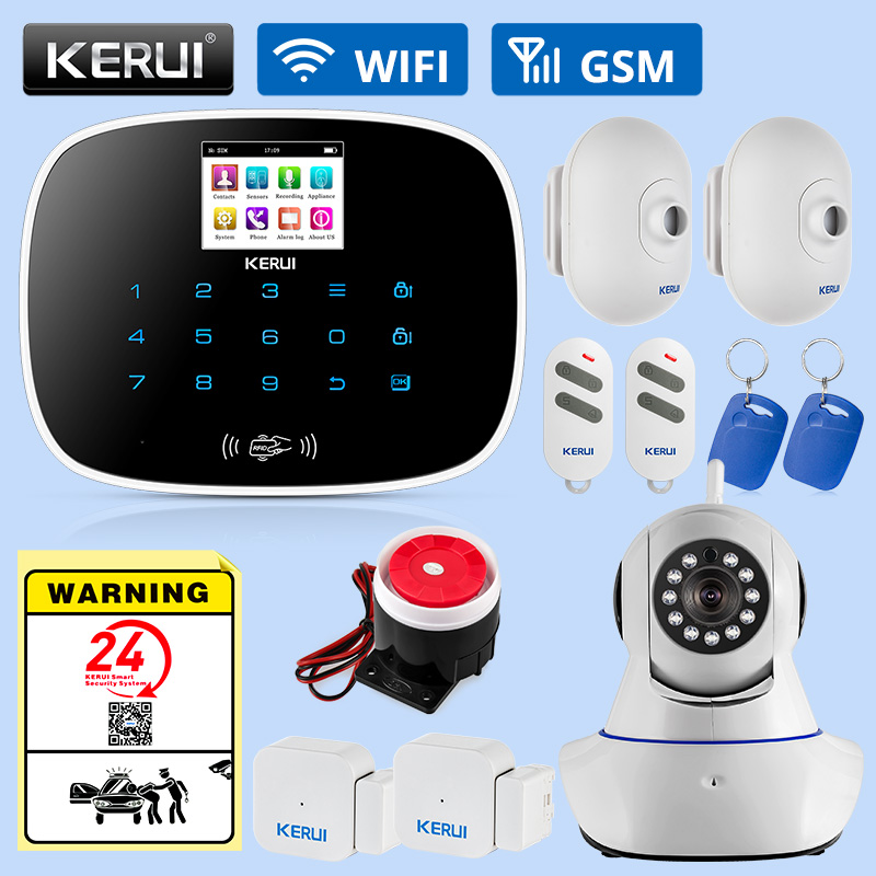 KERUI G19 Wireless GSM Alarm Systems Security Home Kit Door Sensor Motion detector Smoke Gas Concentration Monitoring System