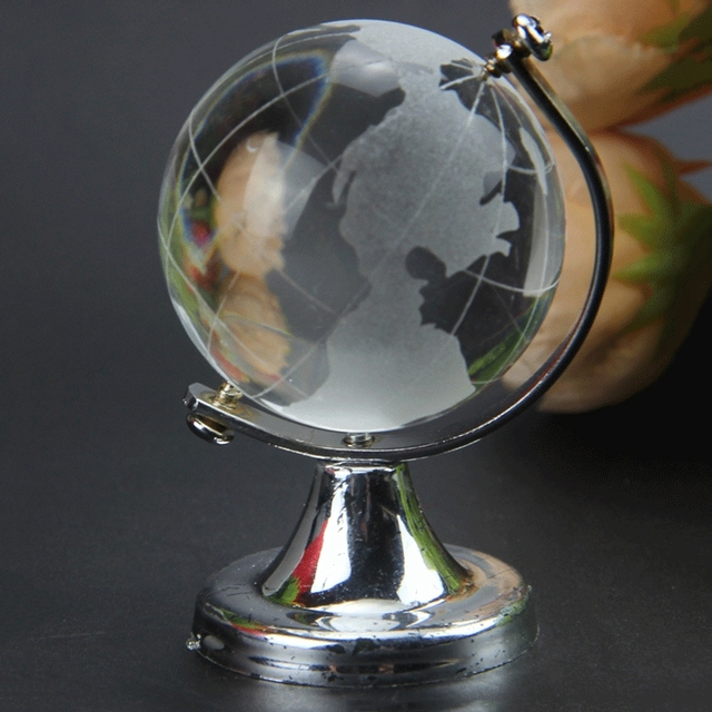 HOT SALE Crystal Glass Frosted World Globe Stand Paperweight Home Desk Wedding Decorate 6