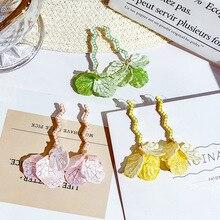 DREJEW Green Pink Yellow Flower Resin Alloy Statement Earrings 2019 925 Drop for Women Wedding Fashion Jewelry HE0341