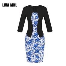 LIVA GIRL Women Retro Vintage Faux Two Piece Dress Elegant Lady Plaid Three Quarter Pencil Dress Office Outfits Plus Size C37-2