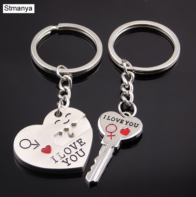 Love Metal Keychain-Hot Sale Fashion Keyring  Zinc Alloy Silver Plated Lovers Gift For Sweetheart Metal Keychain #17077