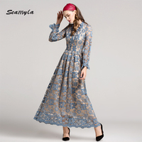 Seamyla High Quality Lace Dress Women 2017 New Fashion Designer Runway Dresses Elegant Vestidos Long Celebrity