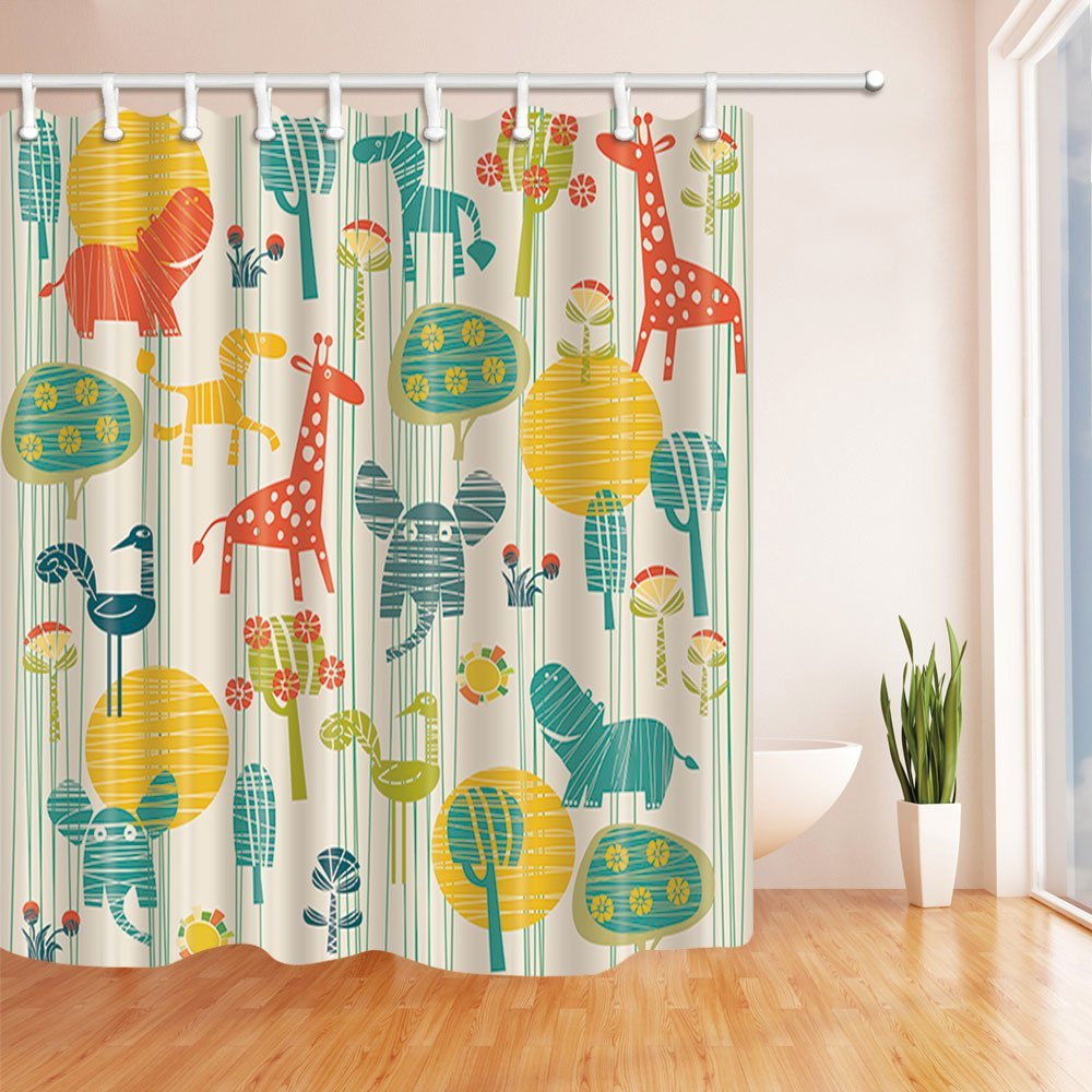 Kids Shower Curtain Cartoon Elephant Giraffe With Trees In Brown
