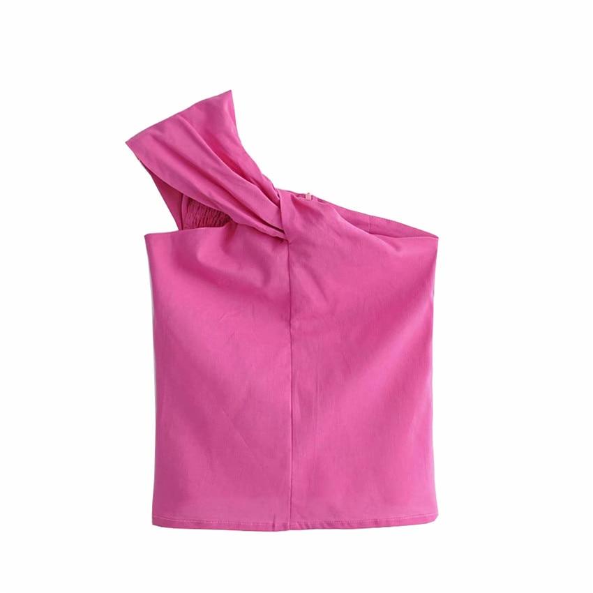 One Shoulder Irregular Blouse Shirt Women Tops Summer Violet Shirt Blouse Chemise Femme Elegant Backless Ruffle Blusas