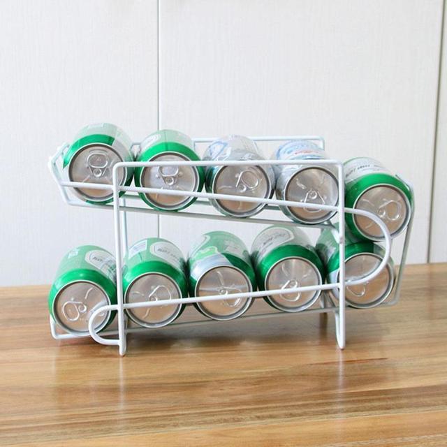Metal Beverage Beer Rack Storage Organizer Holder Can Tank Kitchen  Finishing Refrigerator Fridge Pantry Space Saver
