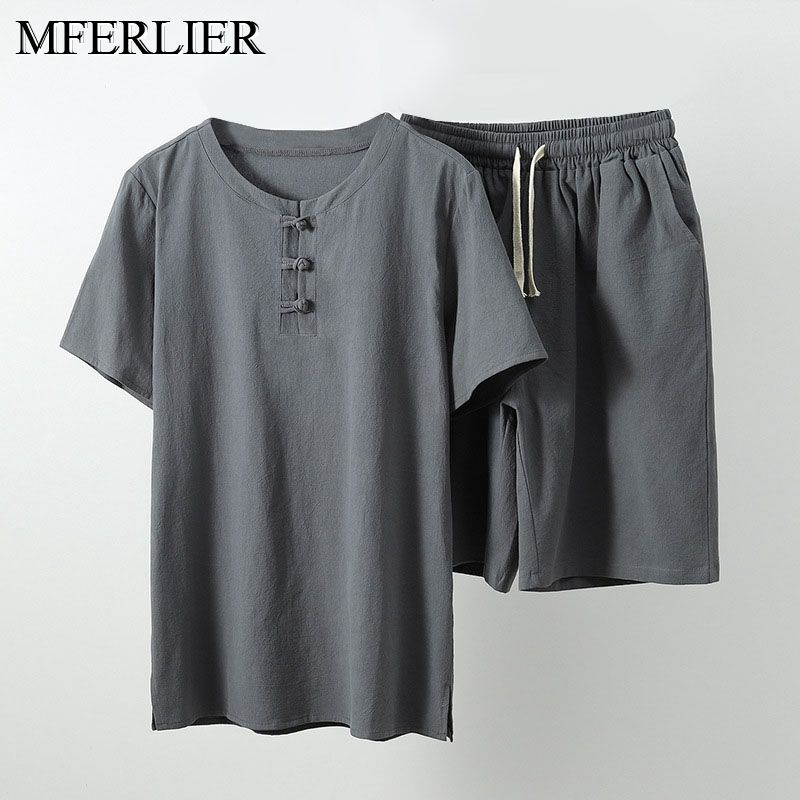 MFERLIER Summer Men Shirt 5XL 6XL 7XL 8XL 9XL 10XL Bust 157-162cm Plus Size Linen Large Size Shirt With Shorts Men 5 Colors
