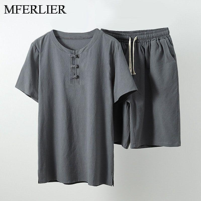 MFERLIER Summer Men Shirt 5XL 6XL 7XL 8XL 9XL 10XL Bust 157-162cm Plus Size Linen Large Size Shirt With Shorts Men 5 Colors