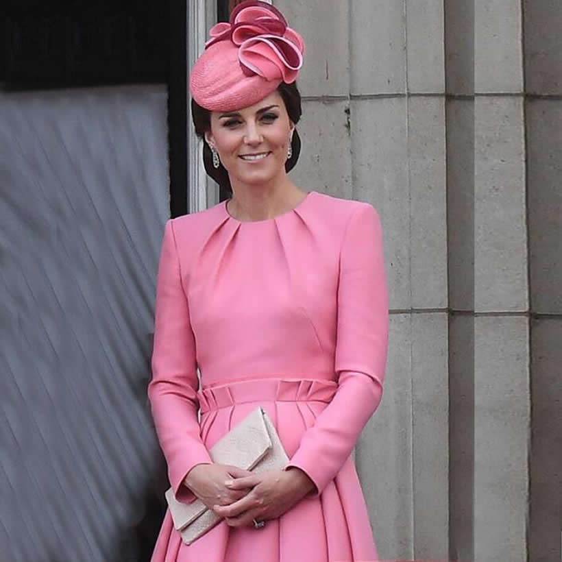 2019 Kate Middleton Princess Pink Dress Fashion O-Neck Long Sleeve Pleated Dresses 3041