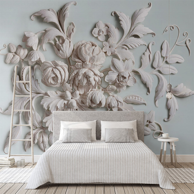 Custom 3D Mural Embossed Beautiful European Peony Flower 3D Wallpaper Living Room Bedroom Background Wall Home Decoration Fresco