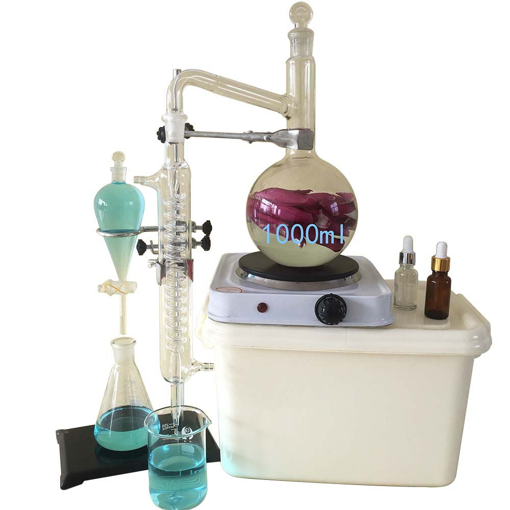 Kit de verrerie de laboratoire 1000 ml, alambic Moonshine, distillateur d'huile essentielle pour eau Pure, avec flacon à condensateur et chauffage