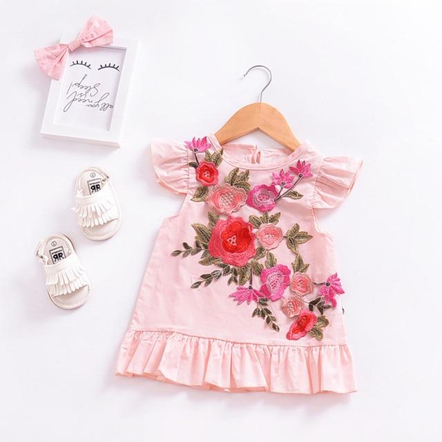 חמוד פעוט תינוק בנות שמלת Ruched קיץ בגדי סטריאוסקופית אפליקציות פרחוני ללא שרוולים שמלות בגדי vestido infantil