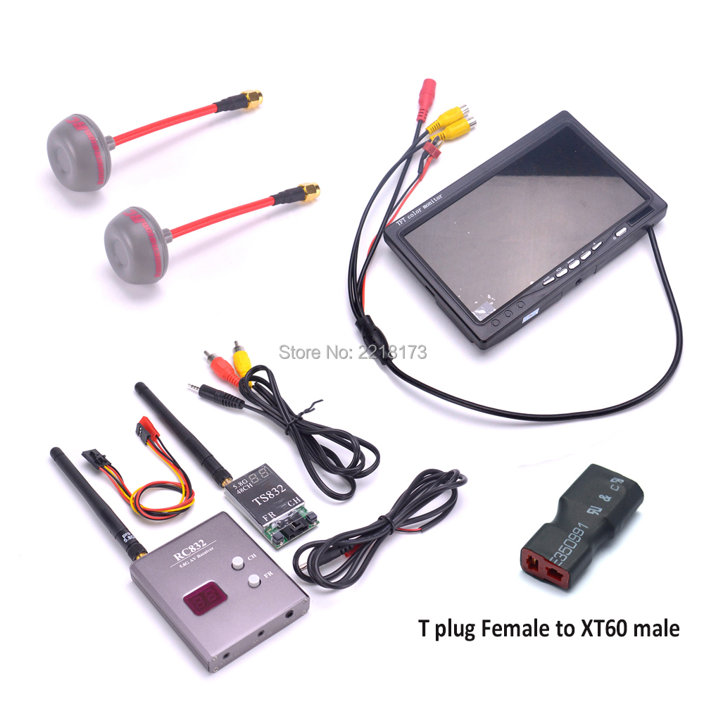 FPV Kit Combo System 5.8Ghz 600mw 48CH TS832 RC832 7 inch LCD 1024 x 600 Monitor Fatshark Antenna for Quadcopter FPV