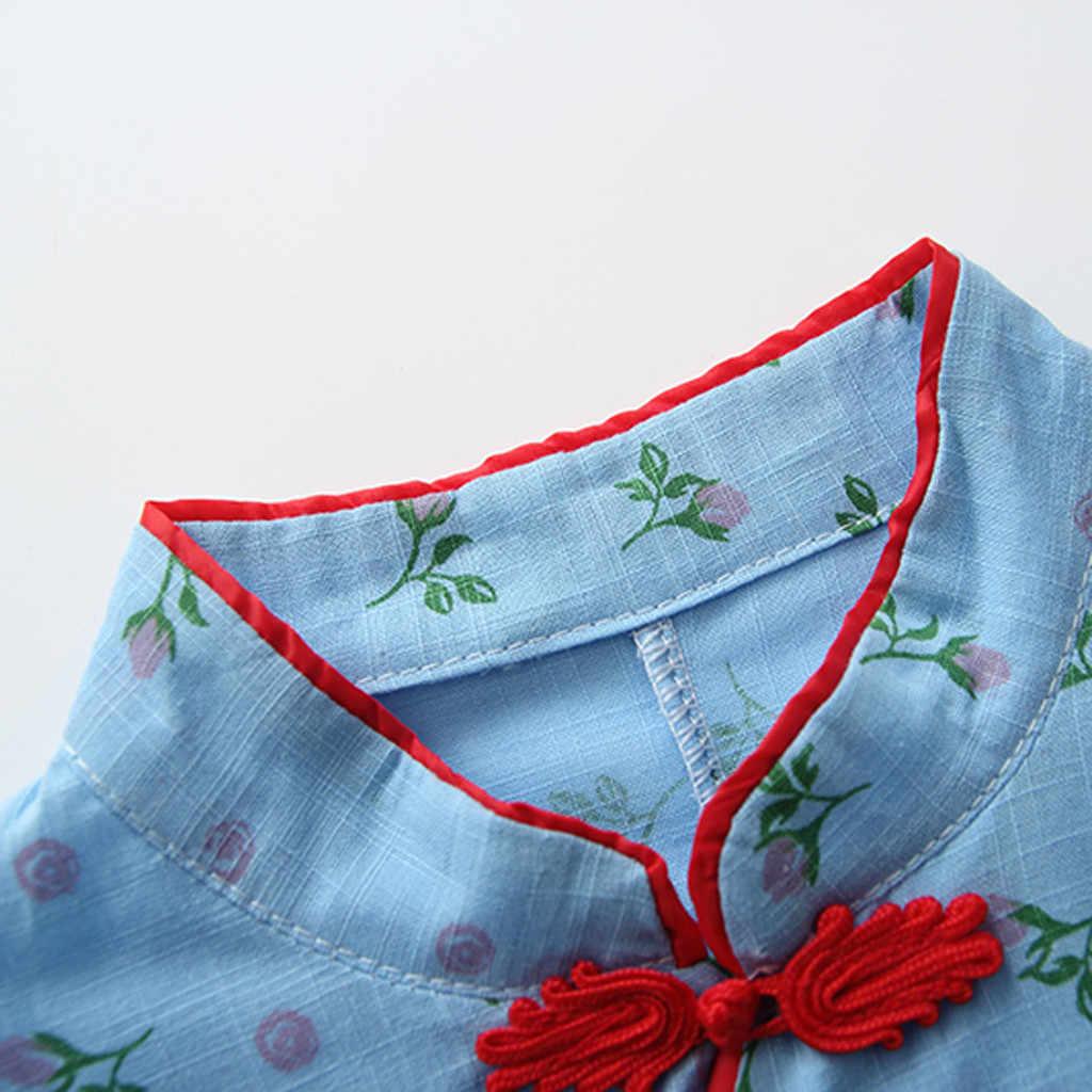 MUQGEW/детская футболка для девочек с розами и цветочным принтом, топы Cheongsam, повседневная одежда для девочек, летняя детская футболка Cheongsam, футболки