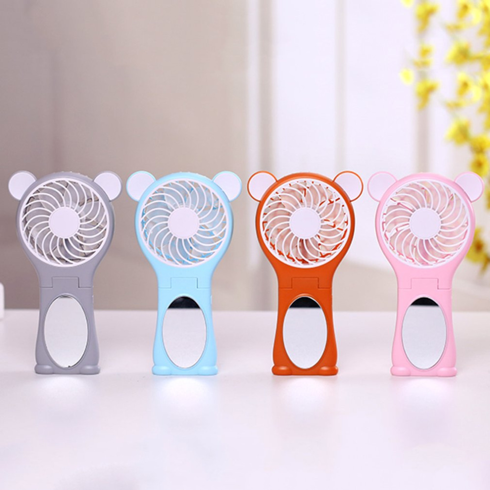 2018 Miniature portable handheld mirror ultra quiet fan rechargeable lithium battery portable handheld Mini USB cute cartoon fan2018 Miniature portable handheld mirror ultra quiet fan rechargeable lithium battery portable handheld Mini USB cute cartoon fan