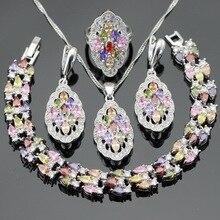 Multicolor Piedras de la CZ Sistemas de La Joyería Para Las Mujeres Encantos Colgante, Collar de Color Plata Pulseras Pendientes Anillos Caja de Regalo Libre