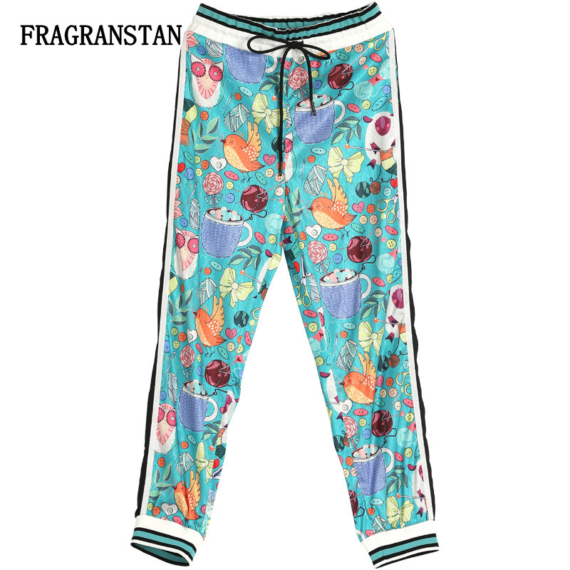 2018 New Spring Summer Women Blue Casual Long Pants Female Fashion Letter Cartoon Print High Quality