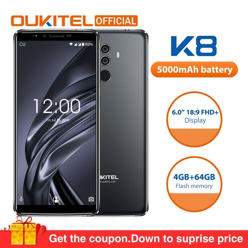 OUKITEL K8 Android 8,0 6,0 FHD + 18:9 mtk6750t восемь ядер 4G RAM 64g ROM 5000 мАч 13.0MP + 5.0MP отпечатков пальцев Face ID смартфон