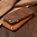 Retro vintage cuero auténtico real case para iphone 7 6 6 s plus 5 5S SÍ Tarjeta de Teléfono móvil Delgado Hard Shell Volver Cubierta de Fundas de silicona