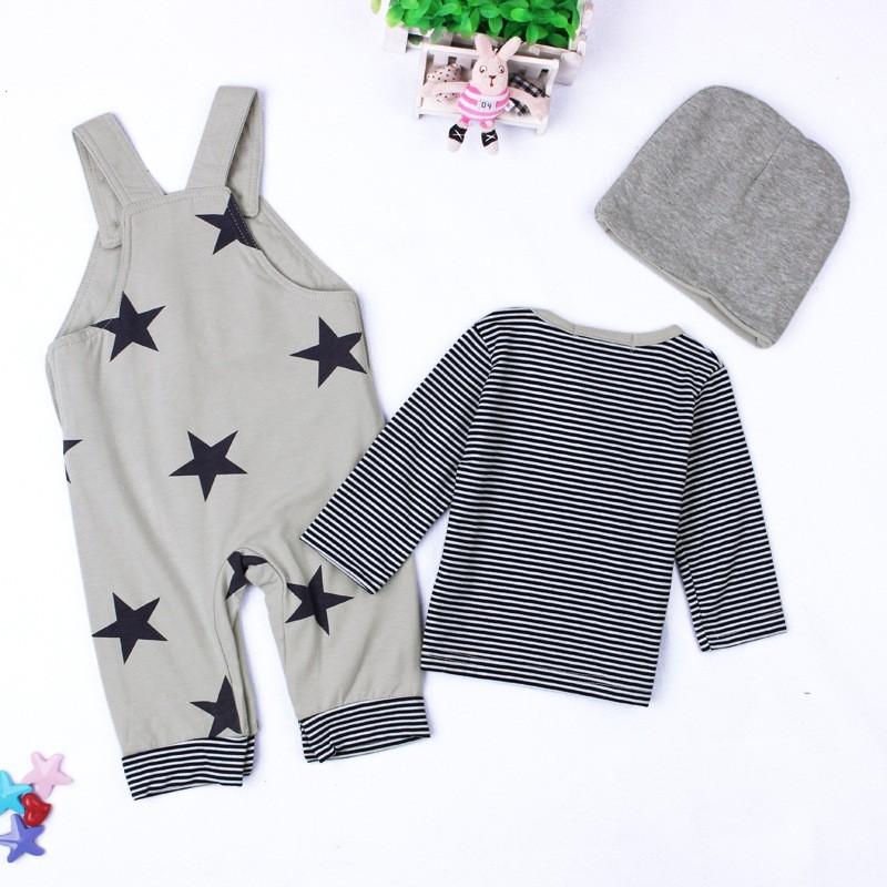 Baby Boys Baby Girls clothing set Newborn baby black grey striated T-shirt+ bib pants + hat stars pattern costumes suits (2)