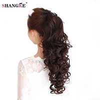 SHANGKE Long Long Curly Synthetic Ponytail In Drawstring Pony Tail Hair Extensions Curly Style Hairpiece Black